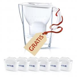 Brita Filtros Agua Maxtra, Pack 6 filtros +REGALO  Jarra Marella, Blanca y Transparente