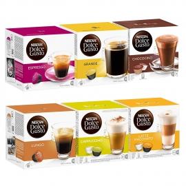 Capsulas  Cafe  Dolce  Gusto  Seleccion CLASICO 6 x16  Espresso, Grande, Chococino, Lungo, Cappuccino y Latte Macchiatto