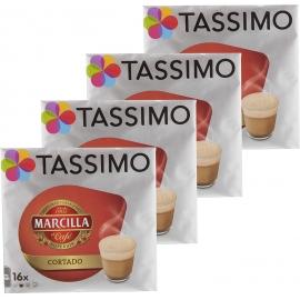 Tassimo Marcilla Cortado Cápsulas- Pack 4 Paquetes (64 Cápsulas)