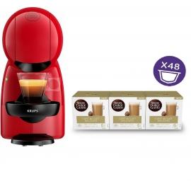 Cafetera cápsulas Dolce Gusto KP1A05 Krups Piccolo XS roja + 48 capsulas cafe con leche